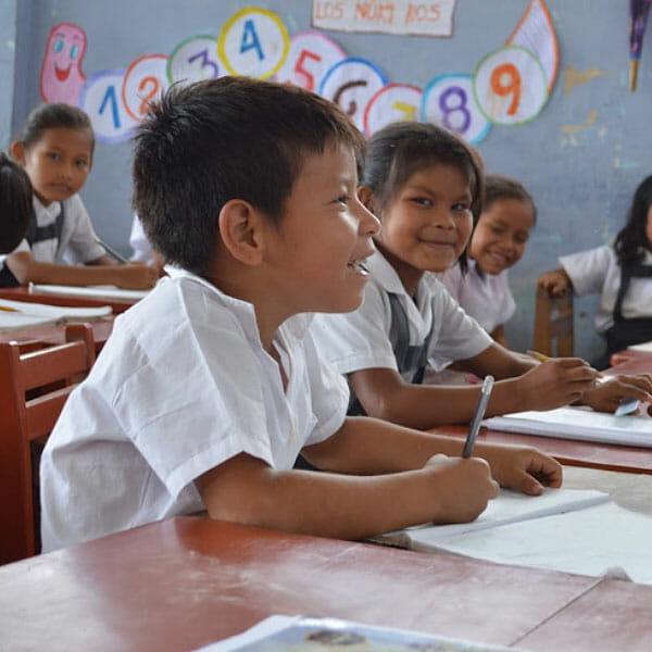 Students in a classroom in Peru